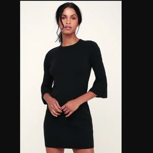 LULUS Black Flounce Sleeve Bodycon Sweater Dress